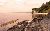 Sunset On The Beach Near Kiselev Cliff Also Known As Cliff Of Tears, Tuapse, The Black Sea, Russia.  poster