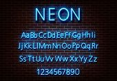 Neon Letter Alphabet Sign Vector. Blue Font Light Sign Isolated On Brick Wall. Neon Light Text Templ poster
