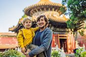 Enjoying Vacation In China. Dad And Son In Forbidden City. Travel To China With Kids Concept. Visa F poster
