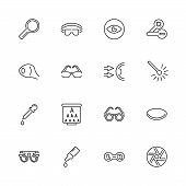 Eye Care And Optometry Outline Icons Set - Black Symbol On White Background. Eye Care And Optometry  poster