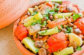 Moroccan Seven Vegetables tagine with chicken