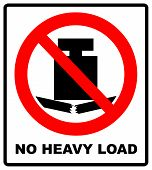 No Heavy Load, Do Not Place Heavy Objects On Surface, Prohibition Sign,  Illustration. poster