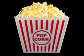 Large Bucket of Popcorn on Black - Symmetrical