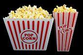 Two Sizes of Popcorn on Black