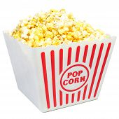 Large Bucket of Popcorn on White