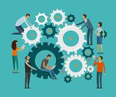 Team Work Concept. Business, Teamwork Infographics. Gears Vector Illustration poster