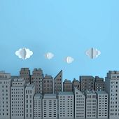 Grey Paper Skyscrapers And Clouds. Achitectural Building In Panoramic View. Modern City Skyline Buil poster