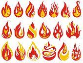 Fire Flames. Cartoon Fire Flames Set .fire Collection poster
