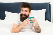 Happy Man Enjoy Morning Coffee. Fresh Coffee. Happy Morning. Bearded Man Drink Morning Coffee. Happy poster