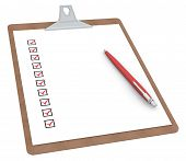 Clipboard With Checklist X 10 And Pen.