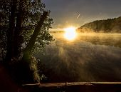 Sunrise On The River. The Beauty Of Sunrise. River Against The Sunrise. Early Morning, Fog Over The  poster