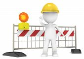 stock photo of barricade  - 3D little human character The Builder blocking the Road - JPG