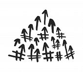 Hashtag Signs. Number Sign, Hash, Or Pound Sign. Seamless Pattern Of Hand Painted Symbols Isolated O poster