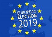 Illustration For European Election 2019 With European Flag poster