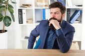 Man Bearded Businessman Thoughtful Face Solving Problem Making Decision. Mental Process Of Choosing  poster
