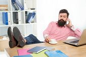 Office Job Benefits.modern Occupation. Guy Bearded Man Brutal Web Developer Call Colleague While Dri poster