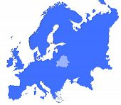 Belarus Location In Europe Map poster