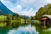 The lake is surrounded by high mountains. Mountain Lake is a fabulous beauty in Bavaria. Koenigssee poster