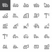 Construction Truck Line Icons Set. Linear Style Symbols Collection, Outline Signs Pack. Vector Graph poster