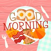 Breakfast Plate Concept Vector Illustration. Hearty Breakfast Of Fried Eggs And Bacon With Fsandwich poster