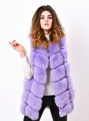 Fashion Trend Concept. Winter Fashionable Wardrobe For Female. Boutique Selling Fur. Woman Makeup Fa poster