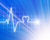 stock photo of blue-screen-of-death  - Heart beat on blue monitor on a blue background - JPG