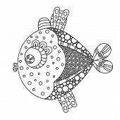 Doodle Decorative Hand Drawn Fish Illustration. Goldfish Drawing. Sketch Coloring Decorative Pattern poster