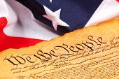 picture of bill-of-rights  - constitution of the united states and american flag - JPG