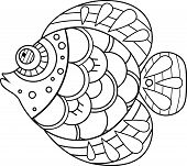 Doodle Decorative Hand Drawn Fish Illustration. Goldfish Drawing. Fish For Coloring Book In Black An poster