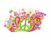 Psychedelic colorful print with hippie peace symbol, flower-power, love, peace and joy word, butterf poster