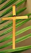 Close-up Of Palm Cross Superimposed Over Palm Branch Leaves. Palm Sunday Concept. poster