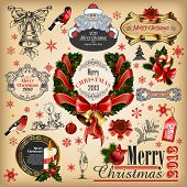 Christmas collection of calligraphic and typographic elements with frames, vintage labels, ribbons,