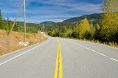 Mountain road in Fall in British Columbia, Canada. Vancouver. Whistler.