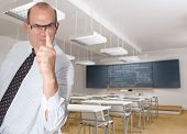 Scary teacher pointing a finger