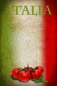 Traditional Italian flag with tomatoes and basil