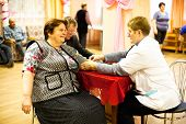 PODPOROZHYE, RUSSIA - OCTOBER 11: Day of Health in Center of social services for pensioners and the