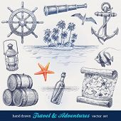 stock photo of nautical equipment  - Travel and adventures hand drawn vector set - JPG