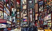 picture of cabs  - Illustration of a street in New York city - JPG