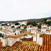 faked tilt shift of view of Cadaques, Costa Brava, Spain