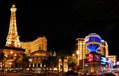LAS VEGAS - MAR 4: Paris Las Vegas hotel and Casino sign in the shape of the Montgolfier balloon wit
