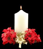 Christmas Candle Red Flowers