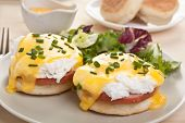 stock photo of toast  - Eggs Benedict - JPG
