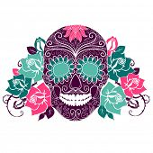 pic of day dead skull  - Skull and roses - JPG