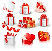 picture of bowing  - Set of colorful vector gift boxes with bows and ribbons - JPG