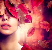 Autumn Woman Fashion Portrait. Fall. Beautiful Girl. Fashion Art