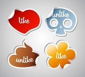 Like and unlike funny stikers set.