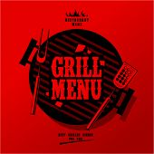 pic of grilled sausage  - Grill Menu Card Design template - JPG