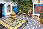 traditional courtyard at Sidi Bou Said, Tunis, Tunisia