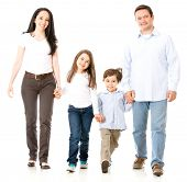 Happy family walking and holding hands - isolated over white