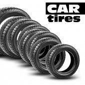 black tires on the white background